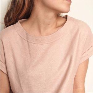 Anthropologie Postmark Lumi Shimmer Top Pink Blush
